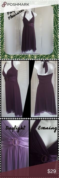 "Special Occasion Dress Royal purple dress Gorgeous varied hemline Light padding in bra area Satin like waist area Faux amethyst rhinestones Fully lined,  halter-style neckline In very nice condition! Appx measurements laying flat: Bust 32"" , length varies 35""-40""     ♥️Non-smoking pet-free home♥️      🤝Save $$Bundles are better!🤝 Dresses"
