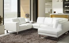 Sectional Excalibur - Modern Style - Luxe Collection. White Leather sectional