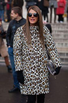 Anna Dello Russo in leopard coat Street Style @ #pfw Paris #Fashion Week