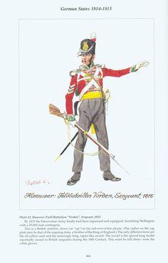 """German States: Plate 13. Hanover: Field Battalion """"Verden"""", Sergeant, 1815"""