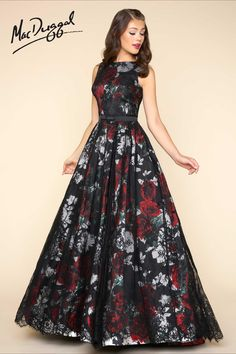 Ball Gowns by Mac Duggal Sleeveless, boat neck, floor length, fit and flare ball gown in a black floral print with lace applique and satin belt. Floral Prom Dresses, Grad Dresses, Trendy Dresses, Elegant Dresses, Beautiful Dresses, Fashion Dresses, Formal Dresses, Formal Wear, Club Dresses