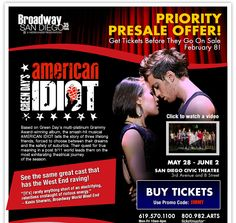 Best seats available now to see AMERICAN IDIOT before they become available to the general public!