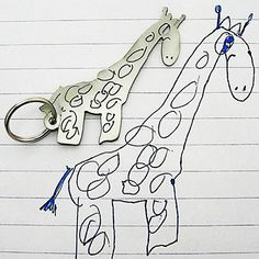 Your child's drawing on keychain