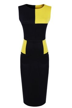 Office Lady Color Block Fitted Sleeveless Dress