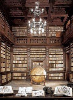 Biblioteca Spezioli di Fermo, La sala del mappamondo /  LIBRARY SPEZIOLI  of Fermo, The HALL of the GLOBE. ITALY.  ... ... The Library was opened in 1688 by Cardinal Decio Azzolini in homage to Queen Christina of Sweden. The huge globe dates to 1713. Gorgeous!