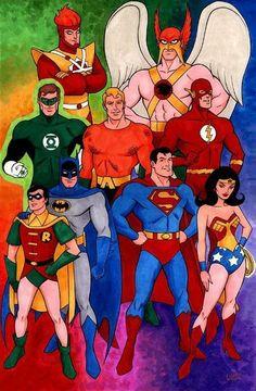 A Liga. Classic Cartoon Characters, Dc Characters, Cartoon Tv, Classic Cartoons, Dc Heroes, Comic Book Heroes, Comic Books Art, Comic Art, Dc Comics Superheroes