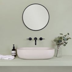 """Dulux has chosen its colour """"Tranquil Dawn"""" as colour of the year for It sits between mint and sage and perfectly highlights the matt black accessories here, but would also look great against a dusky pink or deeper green. Black Toilet, Small Toilet, Tranquil Bathroom, Concrete Basin, Bathroom Colors, Bathroom Ideas, Budget Bathroom, Downstairs Toilet, Bath"""