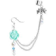 Handmade Aqua Rose Earring Chain Cuff Created with Swarovski Crystals