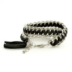 Black Leather And Silver Chain Bracelet #bracelets #fashion #jewelry  9thelm.com