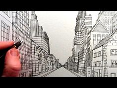 See how to draw a City in One Point Perspective in this quick art video tutorial from Circle Line Art School. 1 Point Perspective, Perspective Drawing Lessons, City Drawing, 6th Grade Art, Drawing Projects, Drawing Techniques, City Streets, Teaching Art, Art School