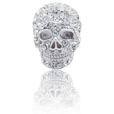 """Skull With Clear Crystals Detail Simply Metal Lapel Pin - AEPPP013 - """"exquisite accessories for the discerning gentleman"""" - by Elizabeth Parker England"""