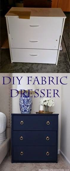 DIY Fabric Covered Nightstand with gold ring pulls