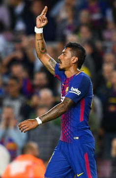 Paulinho of FC Barcelona celebrates after scoring his team's second goal during the La Liga match between Barcelona and SD Eibar at Camp Nou on September 19, 2017 in Barcelona.