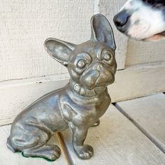 Vintage cast iron Hubley French Bulldog Doorstop by localevintage
