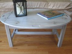 Solid Oak Butler Coffee Table Distressed In A Light Gray White Finish 150 00