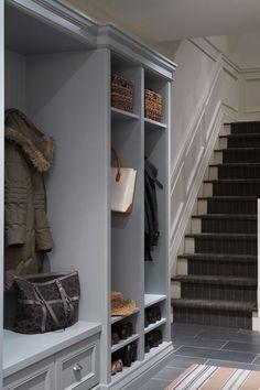 House & Home - laundry/mud rooms - Benjamin Moore - Puritan Gray - gray paint color, gray paint, puritan gray, basement mudroom, mudroom, mu...