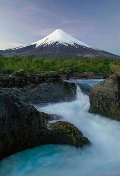 Petrohue Falls and Volcano Osorno, Chile Travel Honeymoon Backpack Backpacking Vacation Cool Landscapes, Beautiful Landscapes, Places To Travel, Places To See, Beautiful World, Beautiful Places, Landscape Photography, Nature Photography, Monte Fuji