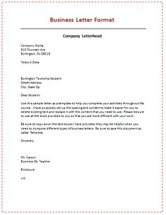 proper format for a business letter