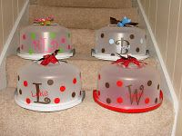 Personalized Cake Carriers- add a cake mix, serving knife. -cute idea for christmas gifts :)