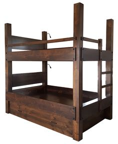 Custom Full XL over Full XL bunk beds. Rustic Alder construction. finished in antique old mexico. Shown with optional headboards, lighting and standard twin trundle.