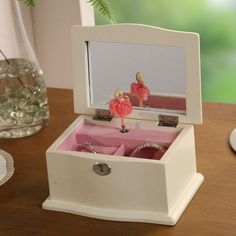 Chic Musical Dancing Ballerina Jewelry Box - 7W x 3.75H in. - Get ready for a night out, as your Chic Jewelry Box with Music sets the musical mood. In vintage style, this classic music box features a petite balle...