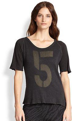 Saks Fifth Avenue SUNDRY '5' Raglan-Sleeved Jersey Tee on shopstyle.com