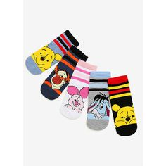 Disney Winnie The Pooh No-Show Socks 5 Pair ($15) ❤ liked on Polyvore featuring intimates, hosiery and socks