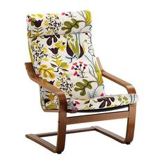 Ikea Cover Chair Medium Brown with Blomstermala Floral Pattern Multicolor Cushion Frame Poang and