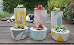 Concrete Succulent Planter Small by ailandel on Etsy Painted Pots, Hand Painted, Cement Flower Pots, Zebra Plant, Flower Pot Design, Small Potted Plants, Irish Art, Concrete Planters, Unique Flowers