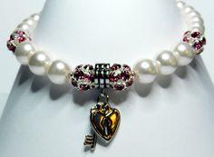 Valentines Day Bracelet-White Glass Pearls-Swarovski Ball Beads-Heart and Key Charms by rosaliascharm on Etsy