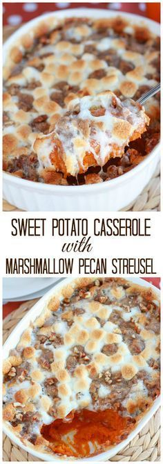 Creamy mashed sweet potatoes topped with toasted marshmallows and a cinnamon pecan streusel.