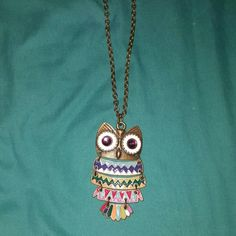 Owl necklace Long chain owl necklace Jewelry Necklaces
