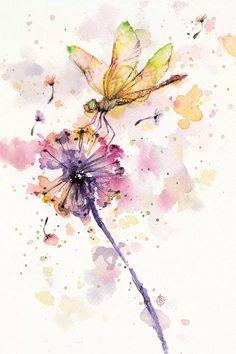 Dragonfly Drawing, Dragonfly Painting, Dragonfly Art, Watercolor Dragonfly Tattoo, Dragonfly Tatoos, Galerie Saatchi En Ligne, Watercolor Animals, Watercolor Paintings, Watercolor Artists