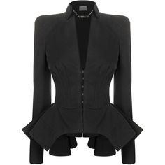 Black Cotton Canvas Edwardian Jacket (3 705 AUD) ❤ liked on Polyvore featuring outerwear, jackets, blazers, coats, tops, women, fitted blazer, fitted jacket, cotton canvas jacket and drapey blazer