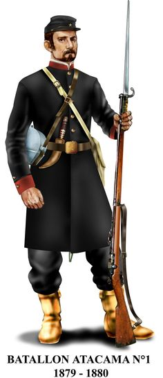 El famoso Atacama usaba este uniforme durante 1879 y mitad de 1880. Eran conocidos como los padrecitos o curitas.