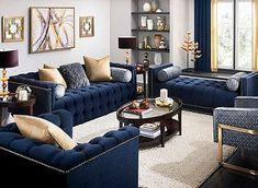 One Thing to Do for Beautiful White and Blue Living Room Decor - myriaddecor Blue And Gold Living Room, Blue Couch Living Room, Blue Living Room Decor, Glam Living Room, Living Room Color Schemes, Interior Design Living Room, Living Room Designs, Blue Living Room Furniture, Cozy Living