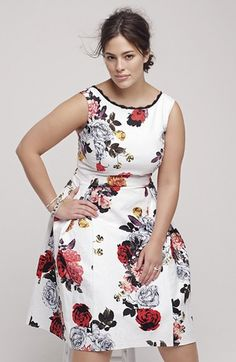 Adrianna Papell Rose Print Jacquard Fit & Flare Dress (Plus Size) | Nordstrom