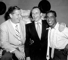 Frank Sinatra with Milton Berle and Sammy Davis, Jr., photographed by Bernie Abramson, c. Golden Age Of Hollywood, Classic Hollywood, Old Hollywood, Joey Bishop, Dean Martin, Milton Berle, Popular Bands, Sammy Davis Jr, Music Happy