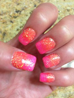 Summer Nails by @Tanya Phillips Coral Colors Pink and Orange Gel Polish Shellac Glitter Glows under Black Light Summer Swag Too Cute Bright Costal Colors