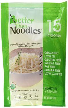 Better Than Noodles, Organic, Vegan, Gluten-Free, Non-GMO, Konjac, Shirataki Noodles 14oz. (6 pack/84 oz.)