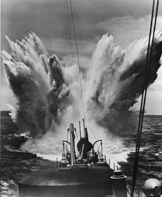 Depth charge explosion during Battle of the Atlantic