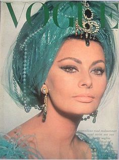 1960s Retro Vogue Cover featuring the always stunning Sophia Loren - and is this ever some fancy turban!