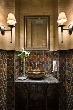 Love the tile in this small bathroom.