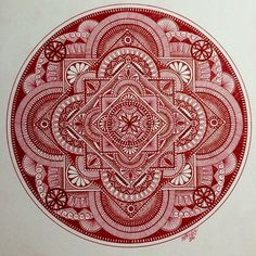 Red is my least favourite colour but I thought hey why not? #mandala #zendala #zentangleart #arttherapy #detail #ornamental #dotwork #mysticalmandalas #mandalala #featuregalaxy