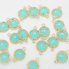 Mint glass beads charms bezel beads gold plated over by Annielov2, $1.70