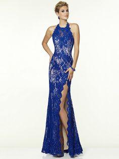 Sheath/Column Sleeveless Halter Lace Beading Sweep/Brush Train Dresses
