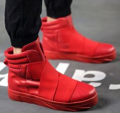 Men-039-s-Punk-Motor-Ankle-Boots-High-Top-Fashion-Sneakers-Sports-Shoes-Mix-color