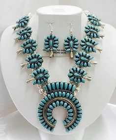 Native-American-Navajo-Sterling-Silver-Turquoise-Squash-Blossom-Set-W-Earrings