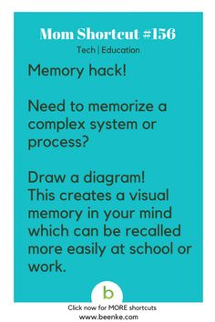 Tech And Study Hacks Everyone Should Know Tech and Education Shortcuts Draw diagrams to improve memory. Get your daily source of awesome life hacks and parenting tips! CLICK NOW to discover more Mom Hacks. Learning Time, Never Stop Learning, Kids Learning, Life Hacks For School, School Study Tips, Simple Life Hacks, Useful Life Hacks, New Things To Learn, How To Memorize Things