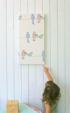 Childrens bird fabric wall art, home or nursery wall decor, gorgeous pink cream green & blue on Etsy, $42.60